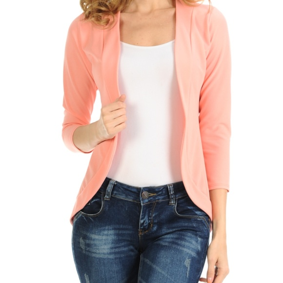81b67afdf29d7 Light Salmon Fitted Blazer. Boutique. Magic Fit